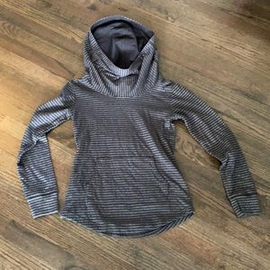Lucy Black and Gray Striped Hooded Sweatshirt XS